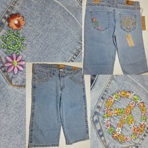 Flowers Of Peace Embroidered Burmuda Denim Shorts